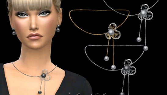 Diamonds and pearl flower design necklace 钻石项链