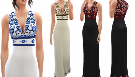 Floral Embroidered Maxi Dress 连衣裙
