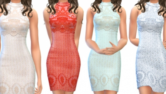 ekinege Lace Overlay Mini Dress