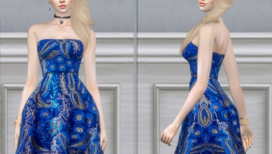 DarkNighTt Sax Blue Sequin Embroidered Dress-浅灰蓝色亮片刺绣连衣