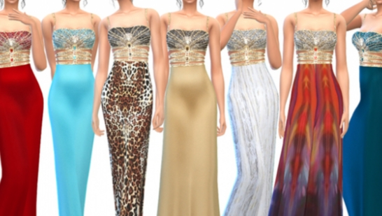 ekinege Exotic Jeweled Bodice Evening Gown