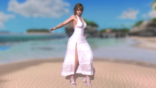 Misaki White Slit Dress SSR