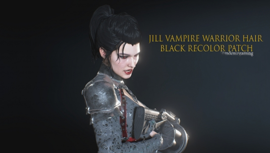 Jill Vampire Warrior Hair Black Recolor Patch附件